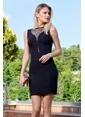 İroni Yaka Sim Tüllü Elbise Siyah